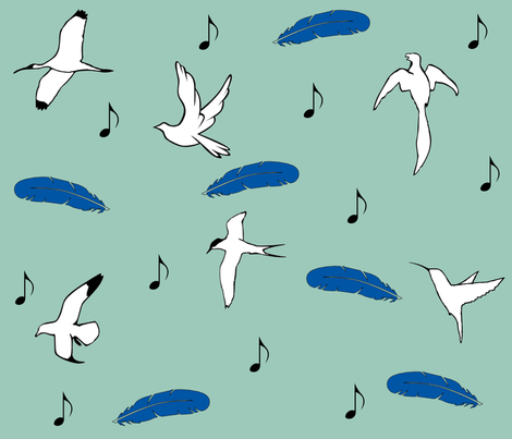 Birds Chirp, I Sing fabric by akinarose on Spoonflower - custom fabric