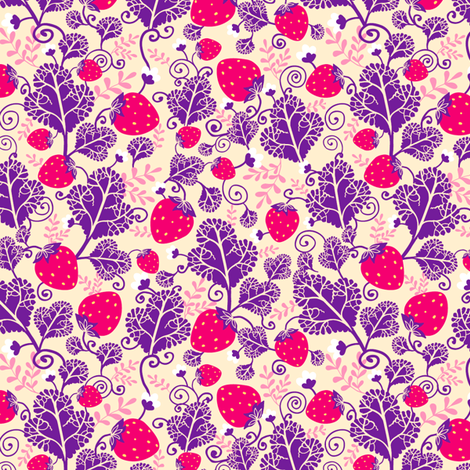 Strawberries fabric by oksancia on Spoonflower - custom fabric