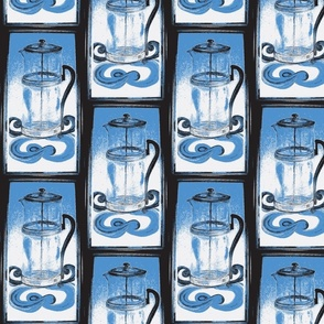 French_Press-Blue and White