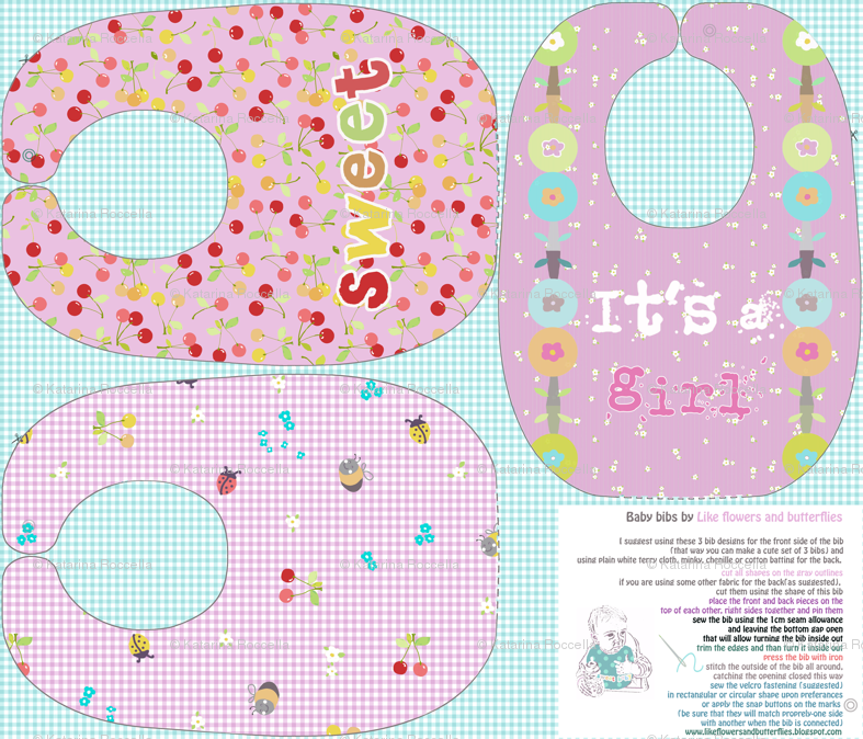 Bibs... baby girl sewing pattern template fabric - katarina ...