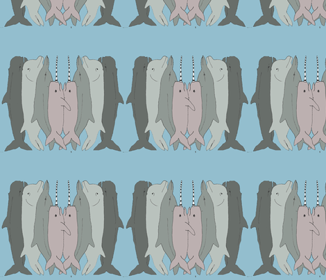 Whales, Dolphins & Narwhals fabric by louisenorman on Spoonflower - custom fabric