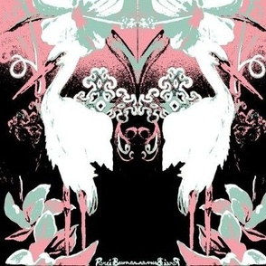 Stork with Flowers-4 color palette