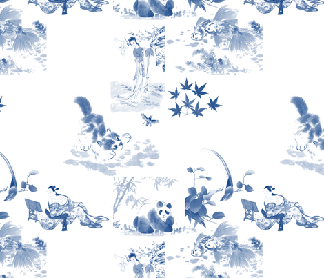 Japanese Toile in blue fabric by dafoxx on Spoonflower - custom fabric