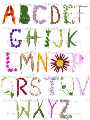 Garden alphabet fabric sparrowfarm spoonflower for Alphabet garden designs