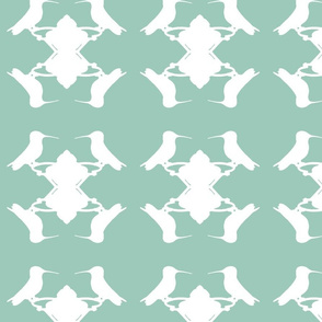 Hummingbird White on Grey-ch
