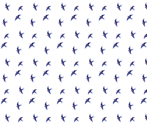Swooping Swallow Ditsy on White fabric by thistleandfox on Spoonflower - custom fabric
