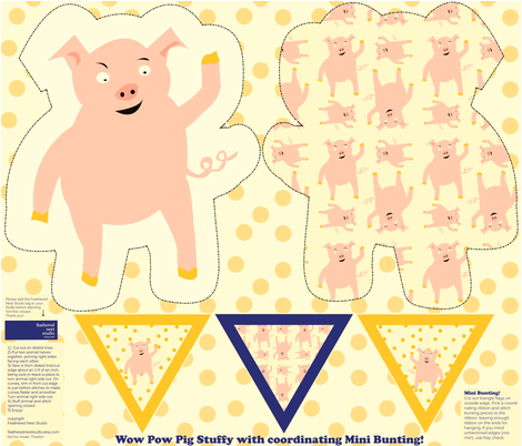 A_Wow_Pow_Pig_Stuffy_and_Mini_Bunting fabric by featheredneststudio on Spoonflower - custom fabric