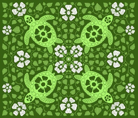 Rrhawaiian_quilt_v10_white_flowers_on_turtle_rectangle_greens2.ai_shop_preview
