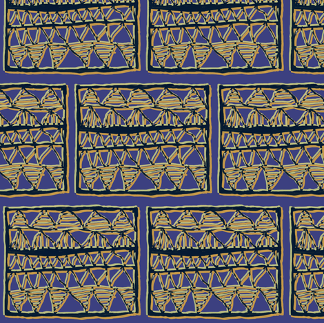 Tan and olive on blue registers by Su_G fabric by su_g on Spoonflower - custom fabric