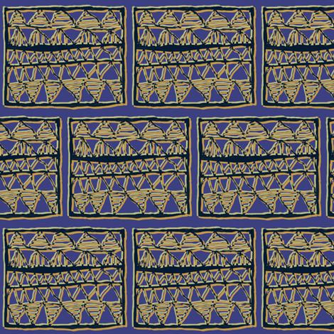 Tan + olive on blue registers by Su_G fabric by su_g on Spoonflower - custom fabric