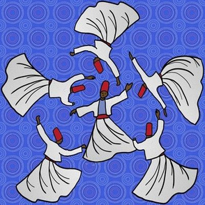 A whirl of dervishes on bright blue