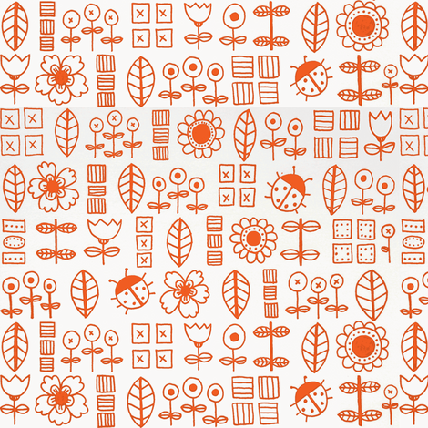 Flowers and Bugs in Orange fabric by valart on Spoonflower - custom fabric