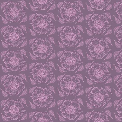 purple flowers fabric by caresa on Spoonflower - custom fabric
