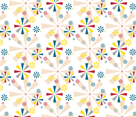 Circus Pinwheels || children kids baby nursery stars starburst vintage whimsical primary colors fabric by pennycandy on Spoonflower - custom fabric