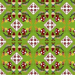 Gnomeville / birdie cheater quilt
