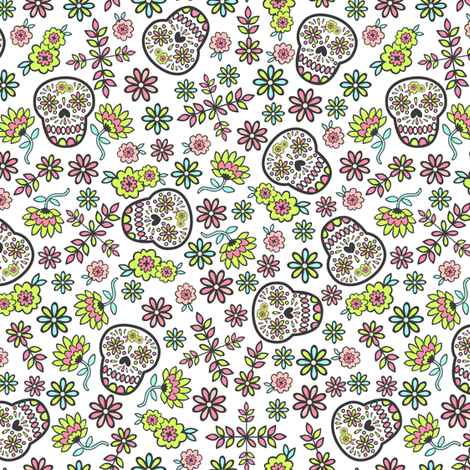 Sugar Skulls fabric by my_zoetrope on Spoonflower - custom fabric