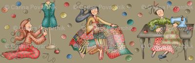 Sewing Girls - brownish