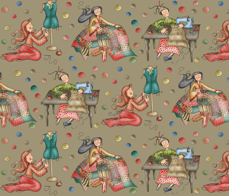 Sewing Girls - brownish fabric by catru on Spoonflower - custom fabric