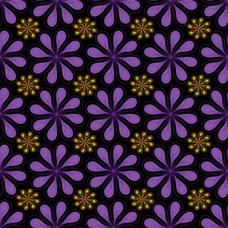 Halloween Flower on Black fabric by mainsail_studio on Spoonflower - custom fabric