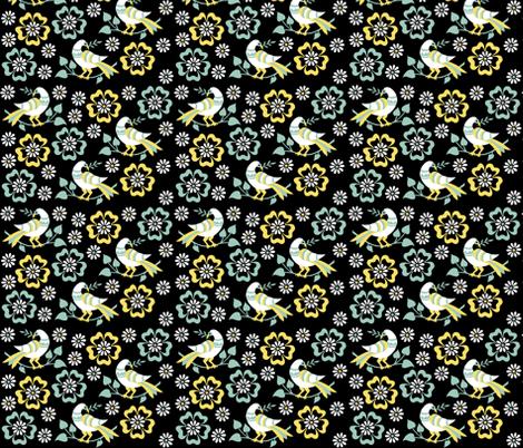 birds in clouds of flowers fabric by eva_krasilni_razbor on Spoonflower - custom fabric