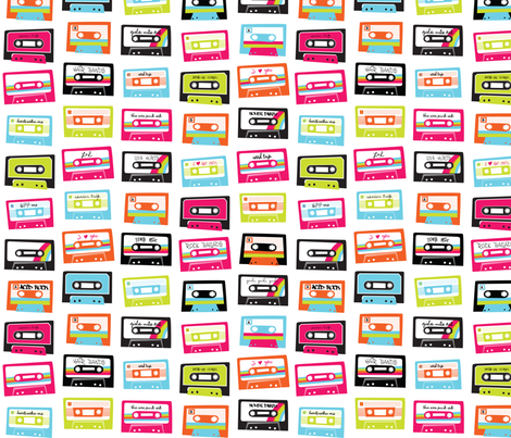 I heart the 80's - Mixed Tape fabric by happygoluckycreations on Spoonflower - custom fabric
