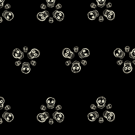 Scribble Goth - Skull Florets, black fabric by amysnotdeadyet on Spoonflower - custom fabric