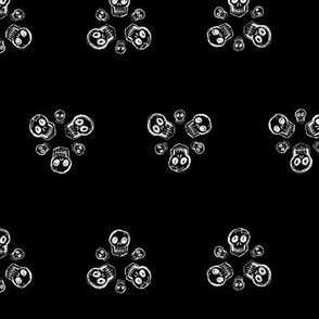 Scribble Goth - Skull Florets, black