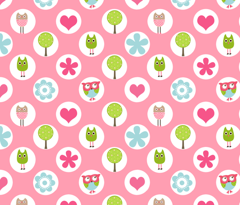 Whimsy Owls Dots fabric by natitys on Spoonflower - custom fabric
