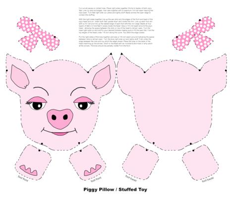 piggy_pillow_stuffed_toy fabric by tewalt on Spoonflower - custom fabric