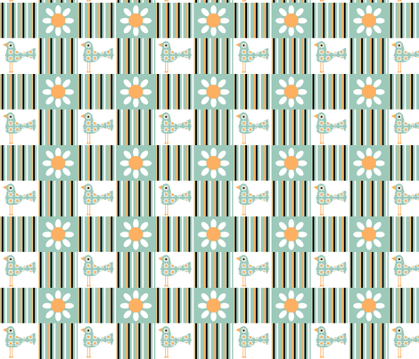 Birds, Flowers, Stripes fabric by nezumiworld on Spoonflower - custom fabric