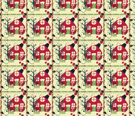 Red Holiday House fabric by eppiepeppercorn on Spoonflower - custom fabric