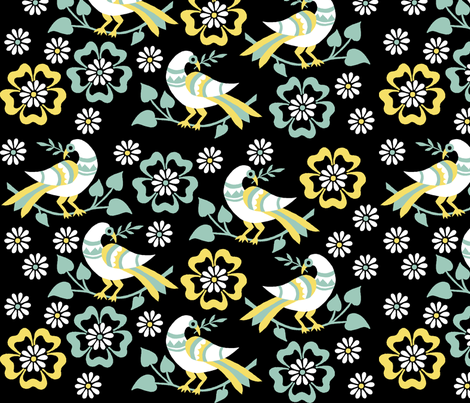 birds among blossoms fabric by eva_krasilni_razbor on Spoonflower - custom fabric