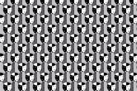 black and white faces fabric by zandloopster on Spoonflower - custom fabric