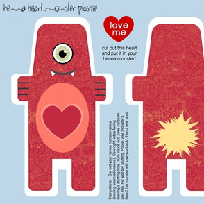 henna heart monster plushie
