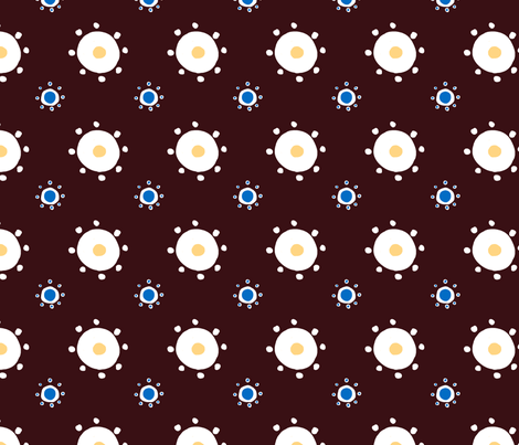 Suns and Polkadots in Chocolate fabric by prettypenny on Spoonflower - custom fabric