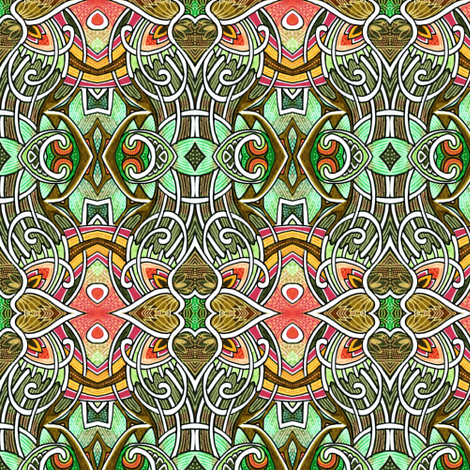 Gothic Tendrils (olive) fabric by edsel2084 on Spoonflower - custom fabric