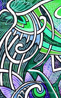 Gothic Tendrils (tiny repeat, green/lavender)