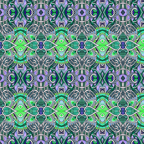 Gothic Tendrils (tiny repeat, green/lavender) fabric by edsel2084 on Spoonflower - custom fabric
