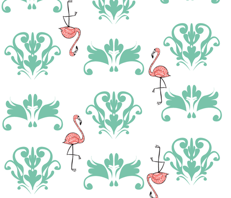 DamaskFlamingo2011 fabric by nikky on Spoonflower - custom fabric