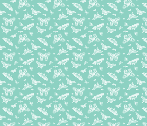 Mint Vintage Butterflies fabric by sweetzoeshop on Spoonflower - custom fabric