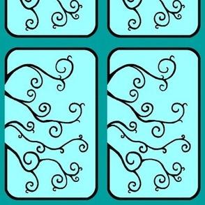 Swirl Tiles in Teal