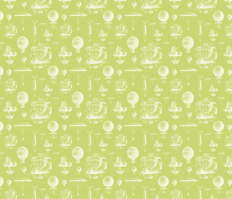Celery Vintage Balloons fabric by sweetzoeshop on Spoonflower - custom fabric