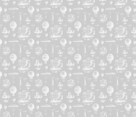 Gray Vintage Balloons fabric by sweetzoeshop on Spoonflower - custom fabric