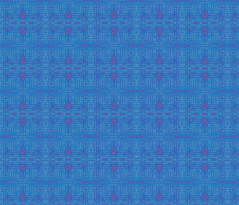 Blue Abstract Geometric with Pink © Gingezel™ 2012 fabric by gingezel on Spoonflower - custom fabric