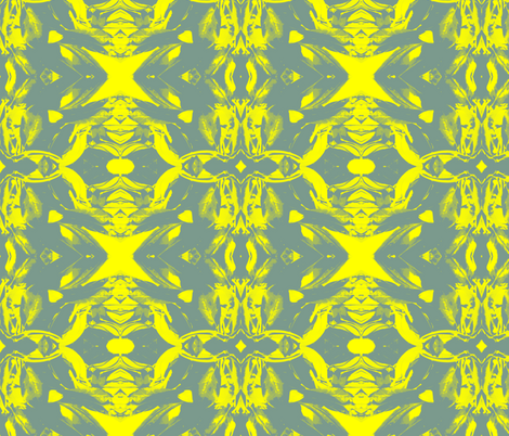 Reflection in Gray and Yellow fabric by bluenini on Spoonflower - custom fabric
