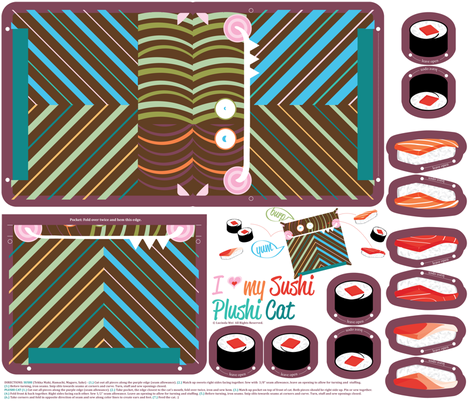 I Love my Sushi, Plushi Cat - © Lucinda Wei fabric by lucindawei on Spoonflower - custom fabric