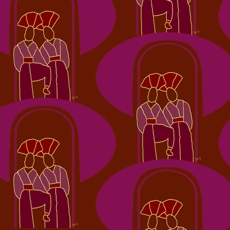 Exotics in an arch - Zoom for best view fabric by su_g on Spoonflower - custom fabric