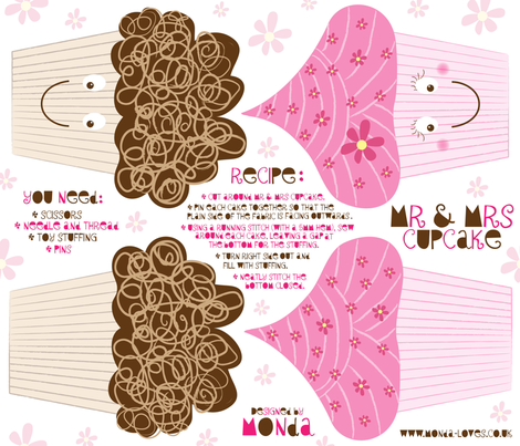 Mr and Mrs Cupcake - Plushie Pattern fabric by mondaland on Spoonflower - custom fabric