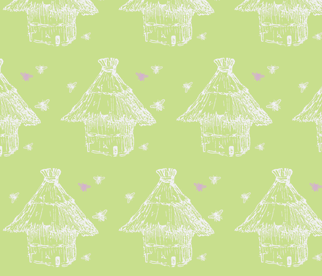 Buzzz (lime, white & lilac) fabric by pattyryboltdesigns on Spoonflower - custom fabric