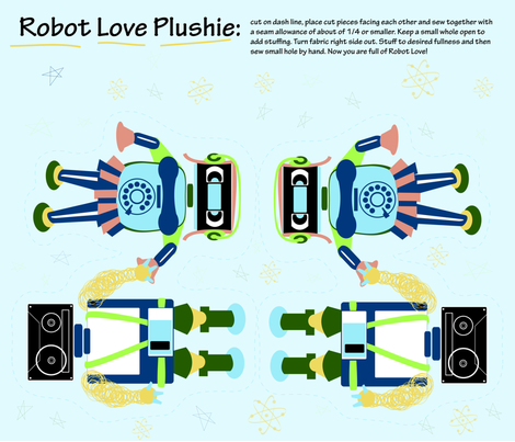 robot_love_plushie fabric by saucy_otter on Spoonflower - custom fabric